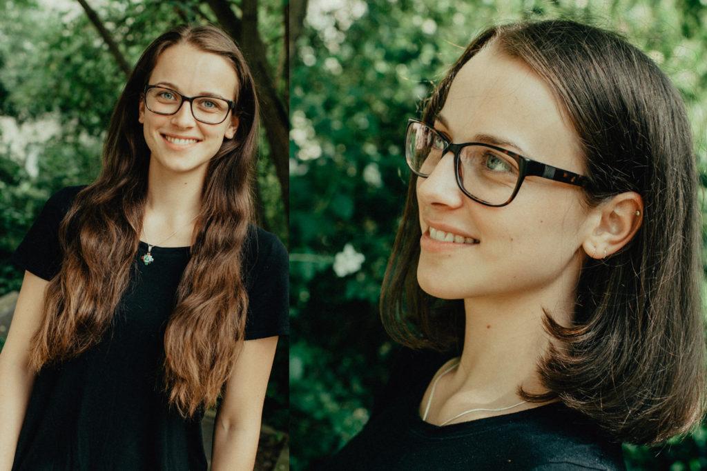 junge Frau mit zwei verschiedenen Frisuren, lange braune Haare, Longbob