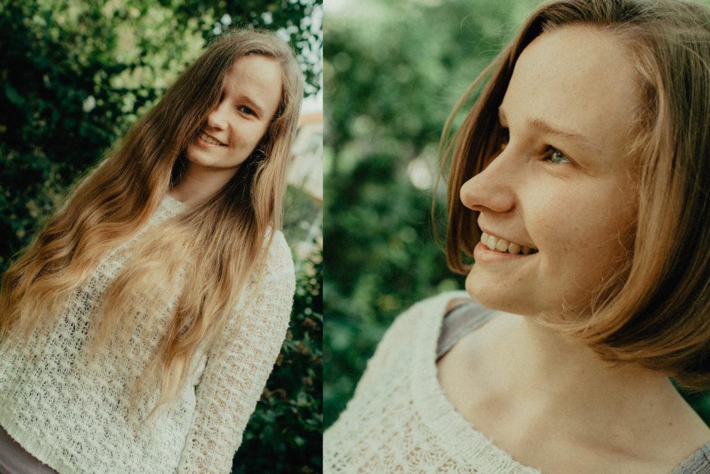 junge Frau mit zwei verschiedenen Frisuren, lange blonde Haare und kurze blonde Haare