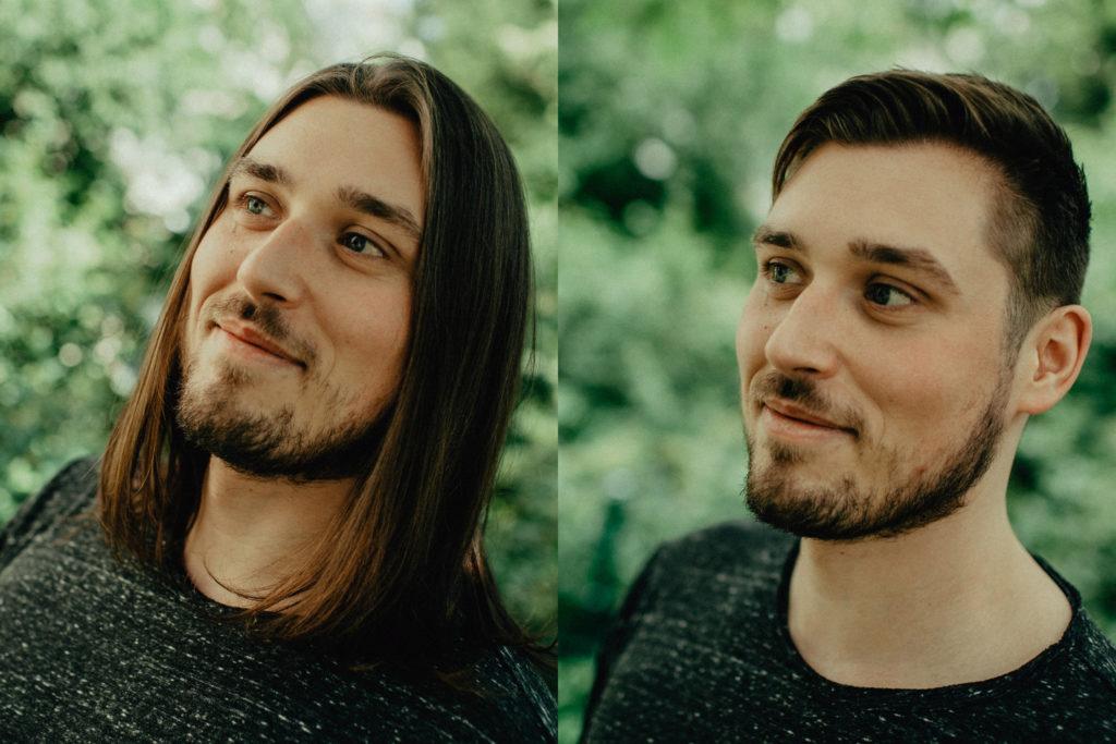 junger Mann mit langen und mit kurzen Haaren
