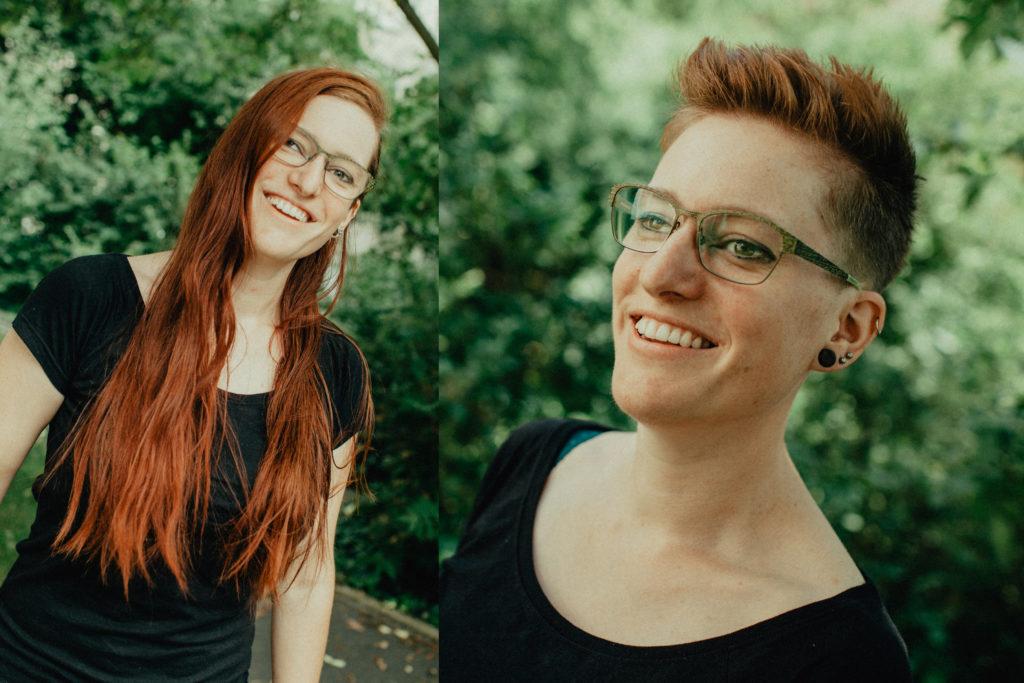 junge Frau lange rote Haare und kurze rote Haare